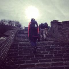 Badaling walking up he steps
