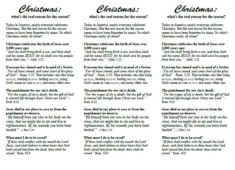 Christmas Gospel Tracts.Free Christmas Gospel Tract What S The Real Reason For The