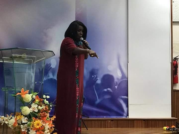 Diana Antwi Hamilton gives sermon in church