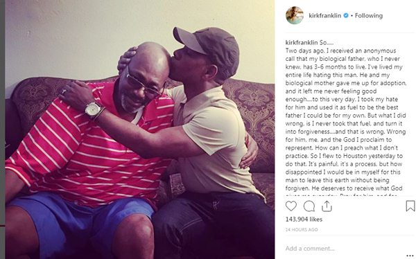 Kirk Franklin finally forgives dying father