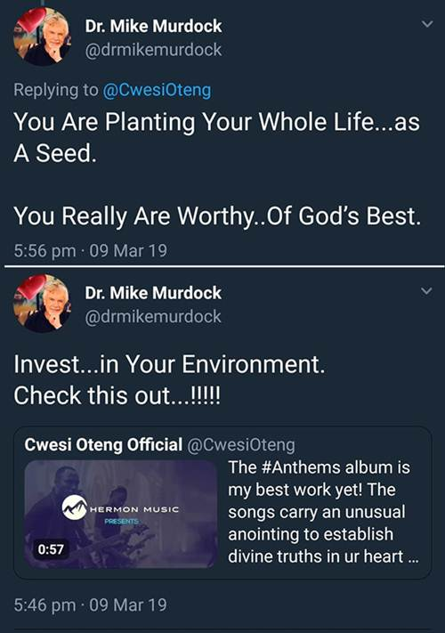 American Televangelist Mike Murdock Endorses Cwesi Oteng's 'Anthems'