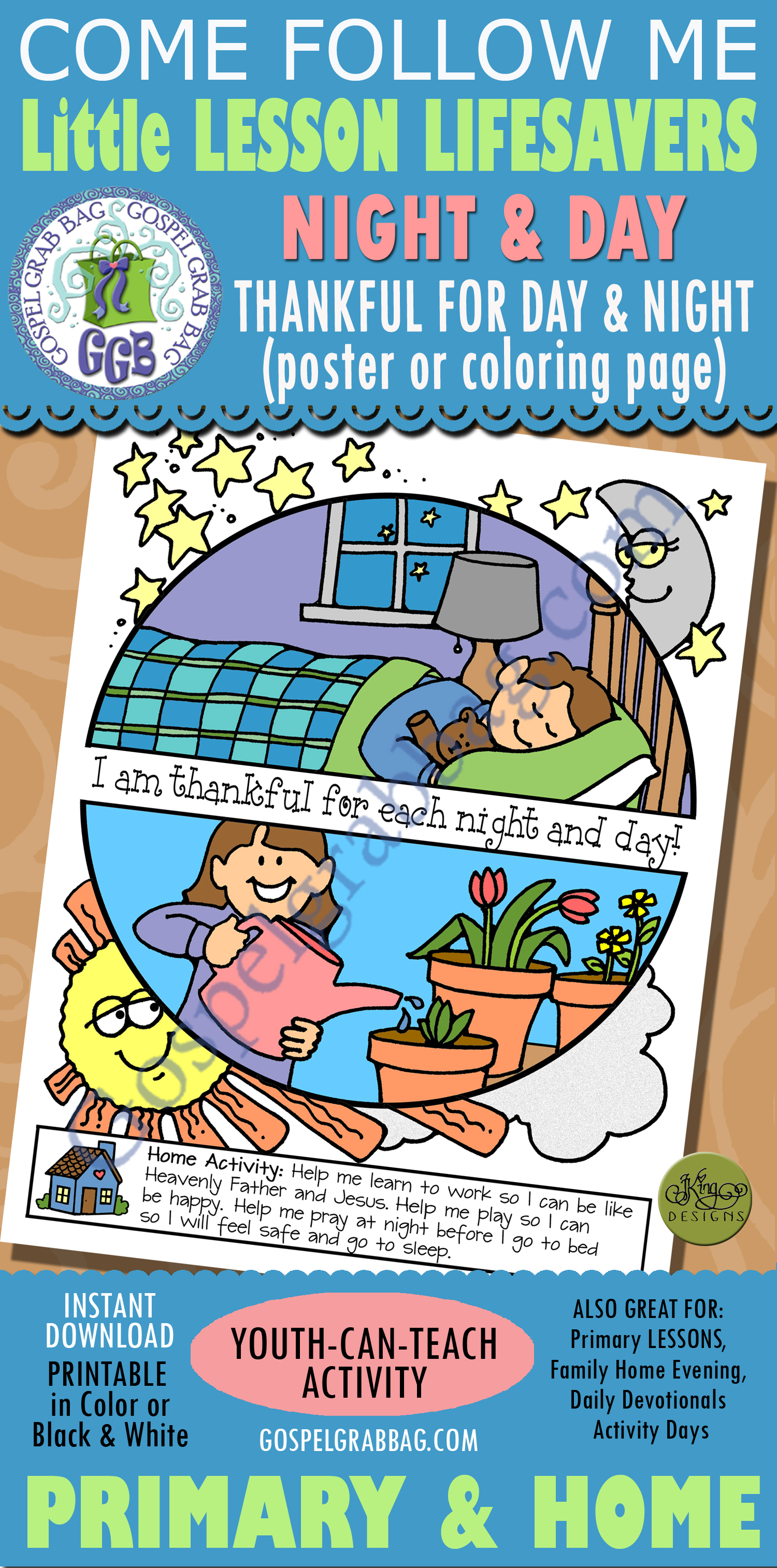 Thankful For Day And Night Activity Poster Or Coloring