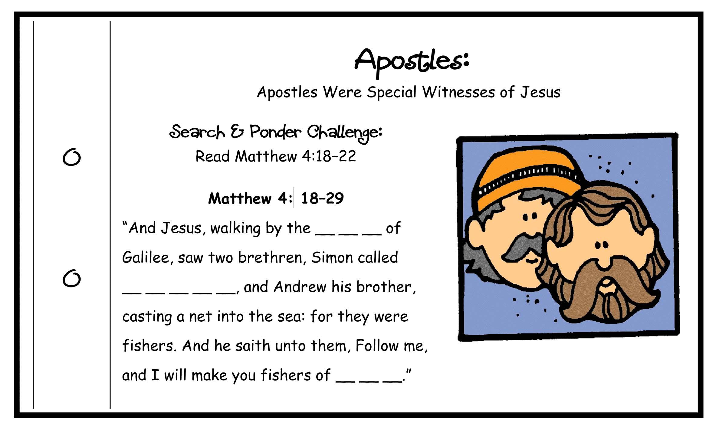 Jesus Chose Apostles Activity Apostle Match Game