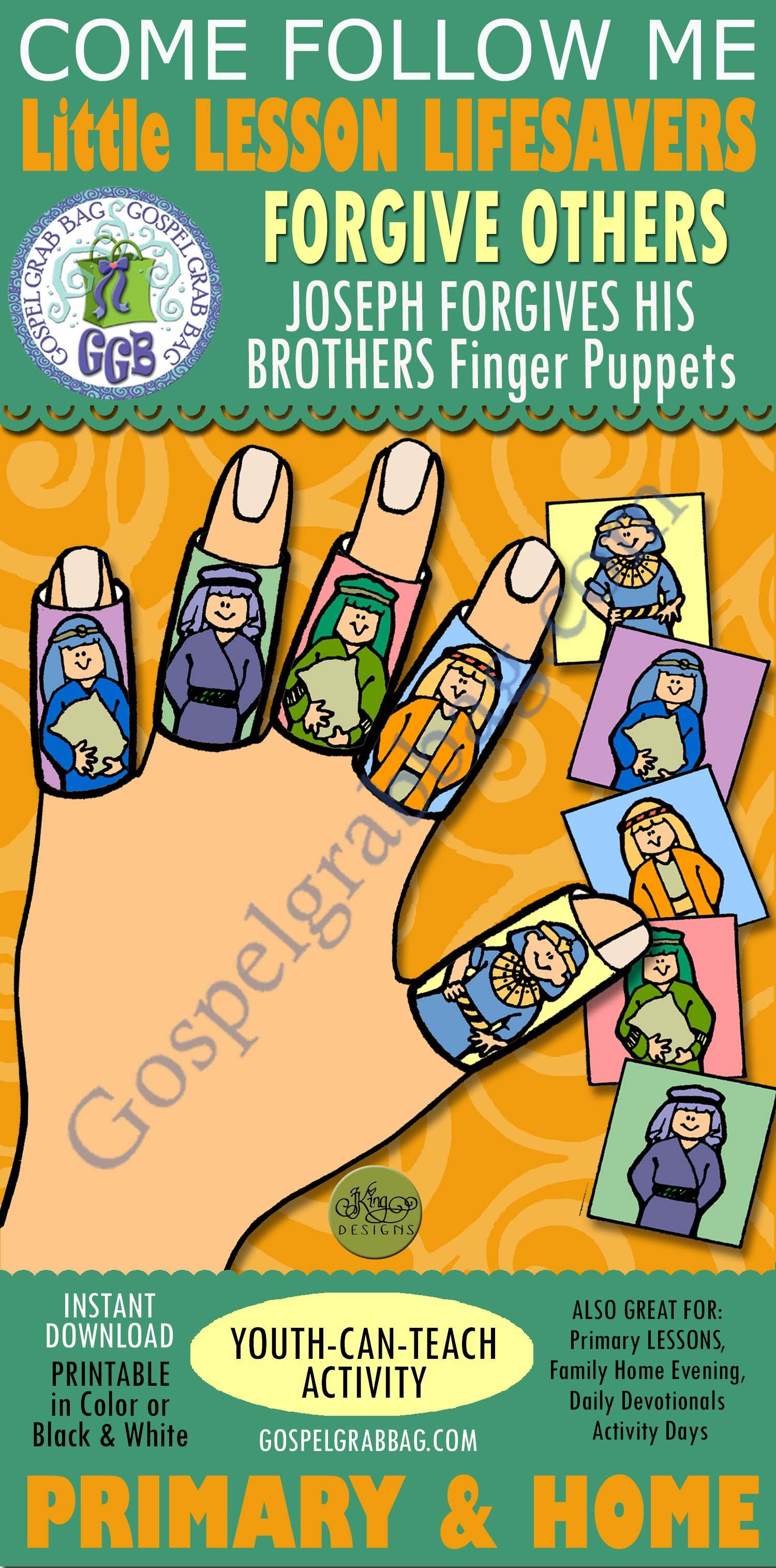 Forgiveness Activity Joseph Forgives His Brothers Finger