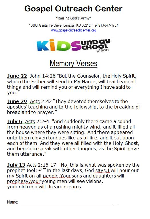 memory verses June and July