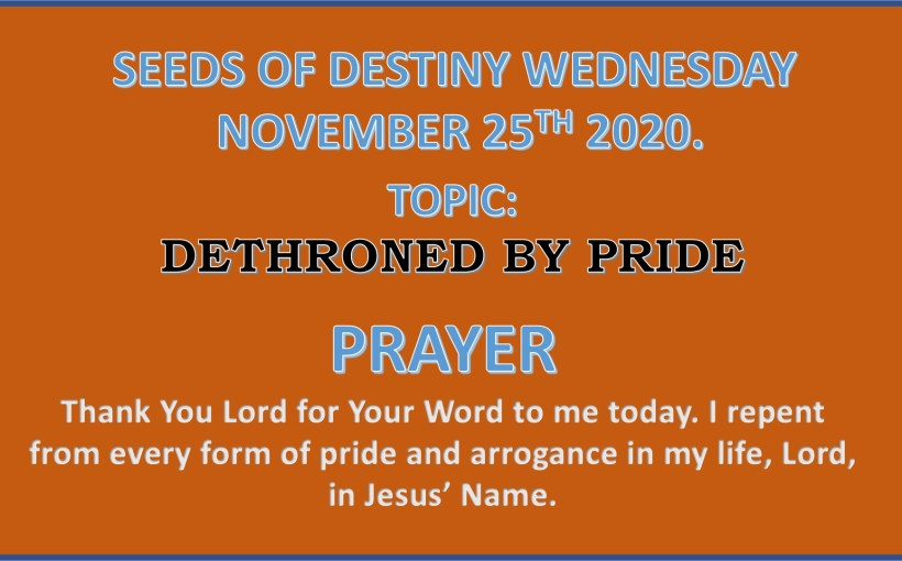 Seeds of Destiny Wednesday 25th November 2020 by Dr Paul Enenche