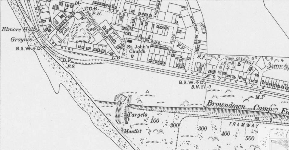 Map showing Elmore Halt and the narrow gauge tramway at