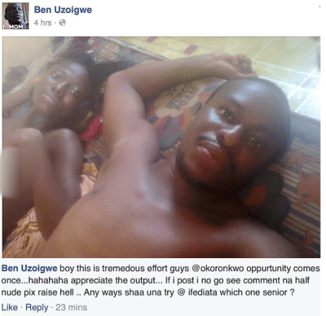 Stupid Love: Nigerian Man Shares Picture Of Himself And His Girlfriend After They Had Finished Making Love On Facebook