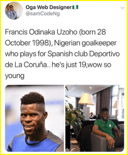 dickson1 1 413x500 - Photos: Meet Francis Uzoho, Super Eagles Of Nigeria's New Goal Keeper He Is Very Young just 19years old