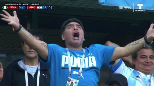 marado1 500x280 - Argentina Legend Maradona Gives Nigeria The Middle Finger After Their Loss Time Goal (Video)