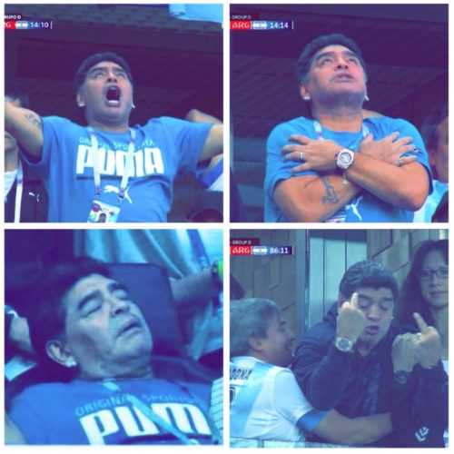 marado1001 500x500 - Argentina Legend Maradona Gives Nigeria The Middle Finger After Their Loss Time Goal (Video)