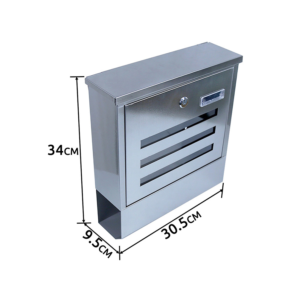MailBox Stainless Steel Wall Mount Post Newspaper Mail Box