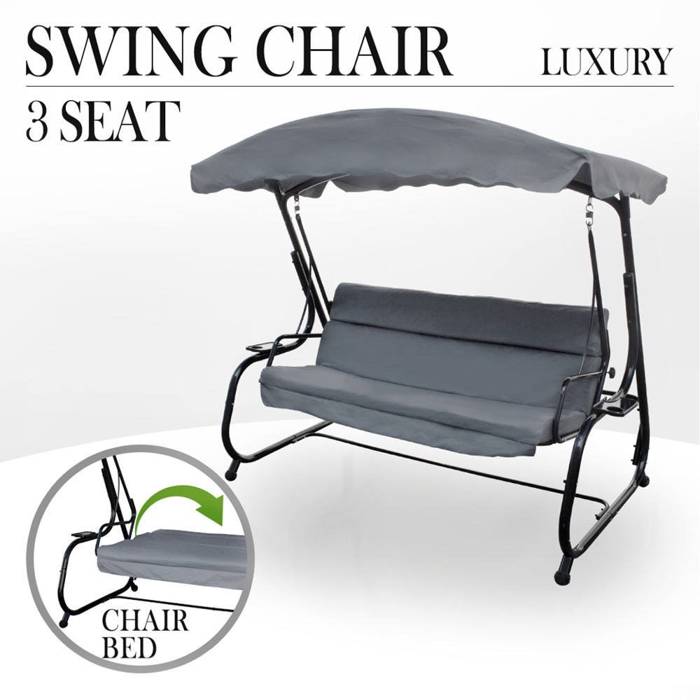 hanging chair outdoor australia dish target swing bed 3 seat patio garden recline bench details about canopy grey