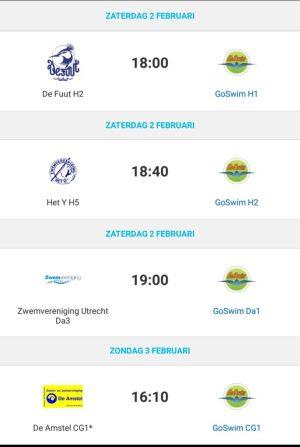 GoSwim wedstrijden week 05-2019