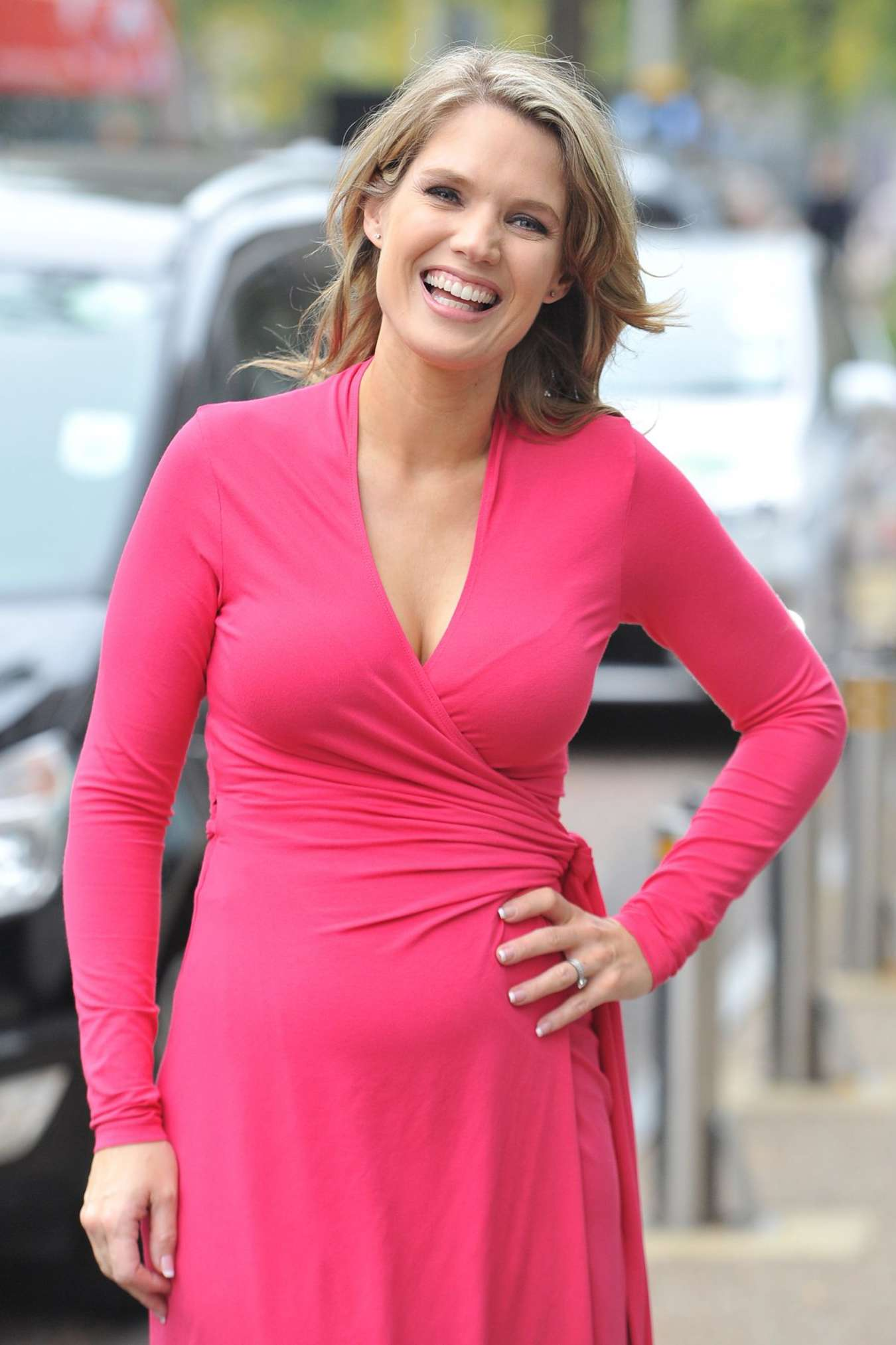 Charlotte Hawkins In Pink Dress Leaves A Studio In London