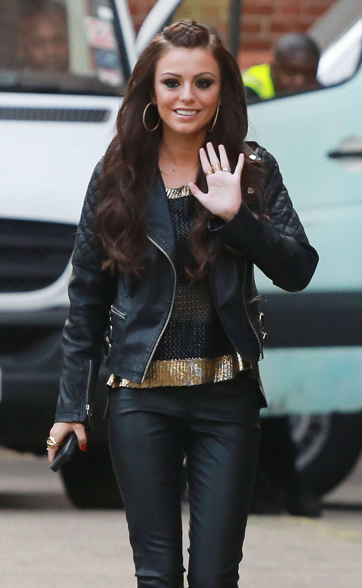 Cher Lloyd in Leather Pants 01  GotCeleb