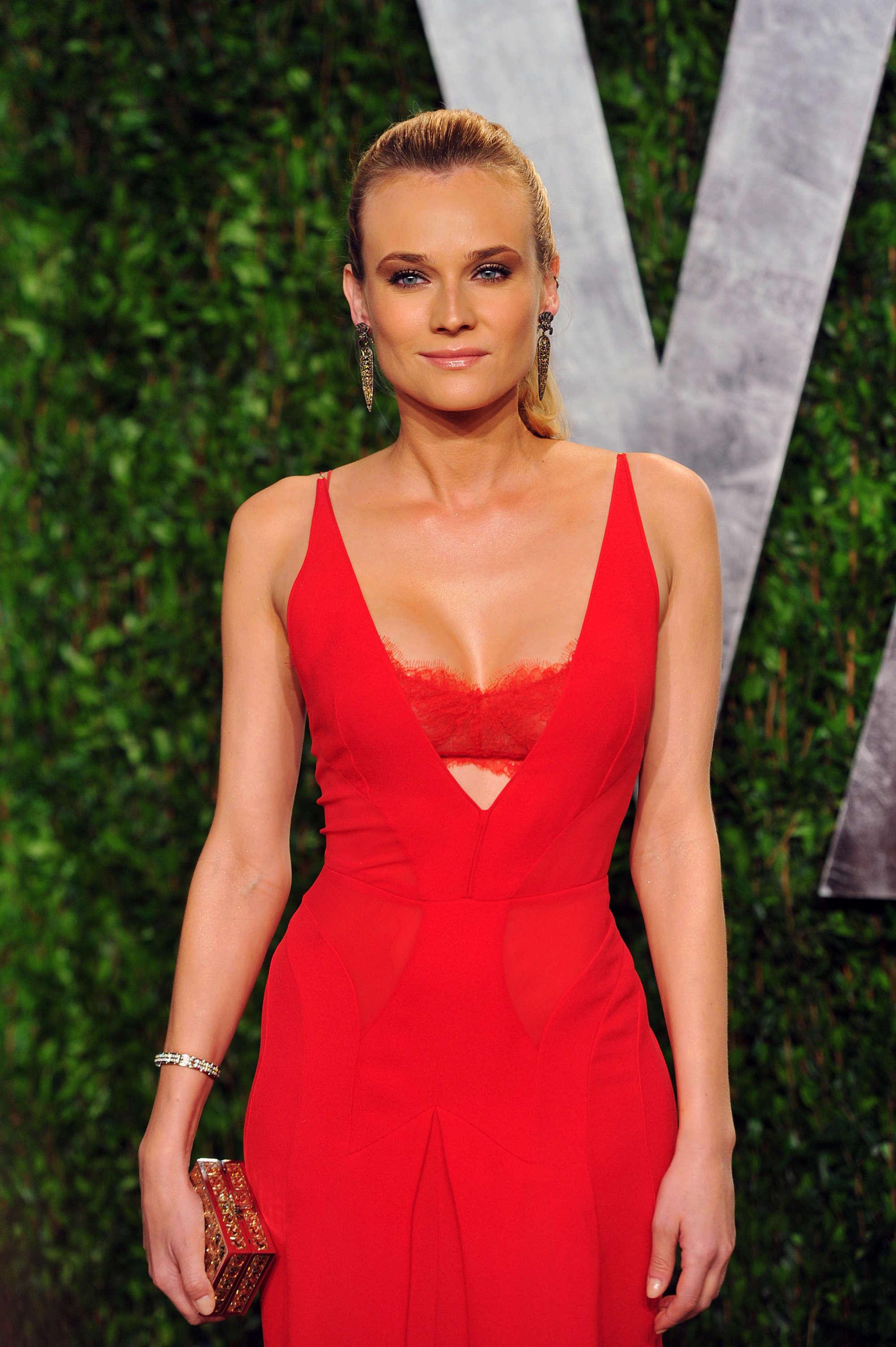 Diane Kruger cleavage at Vanity Fair Oscar Party 201202