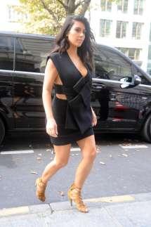 Kim Kardashian In Black Mini Dress -38 Gotceleb