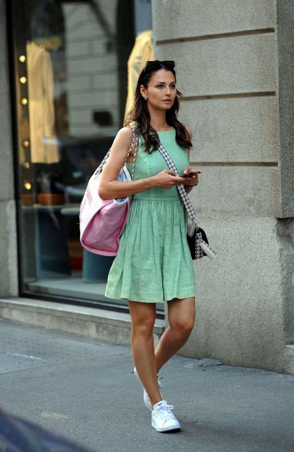 Anna Safroncik In Mini Dress Milan Gotceleb