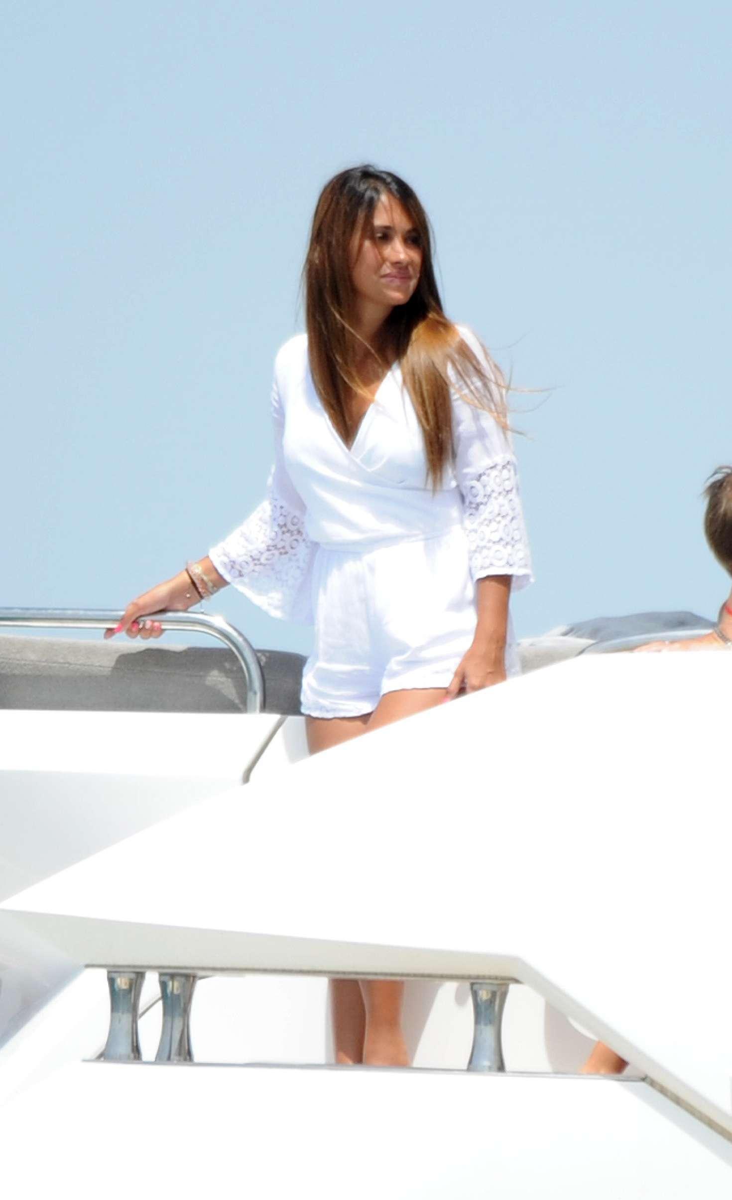 Antonella Roccuzzo on a boat in Sevilla  GotCeleb