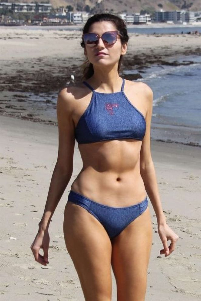 Blanca Blanco in Blue Bikini at a Beach Malibu  GotCeleb