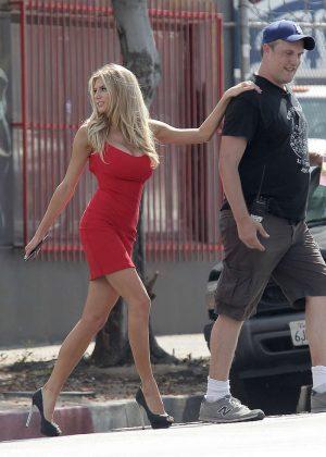 Charlotte Mckinney in Red Mini Dress out in LA  GotCeleb