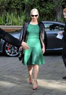 Emilia Clarke In Green Dress Leaving Hotel Beverly