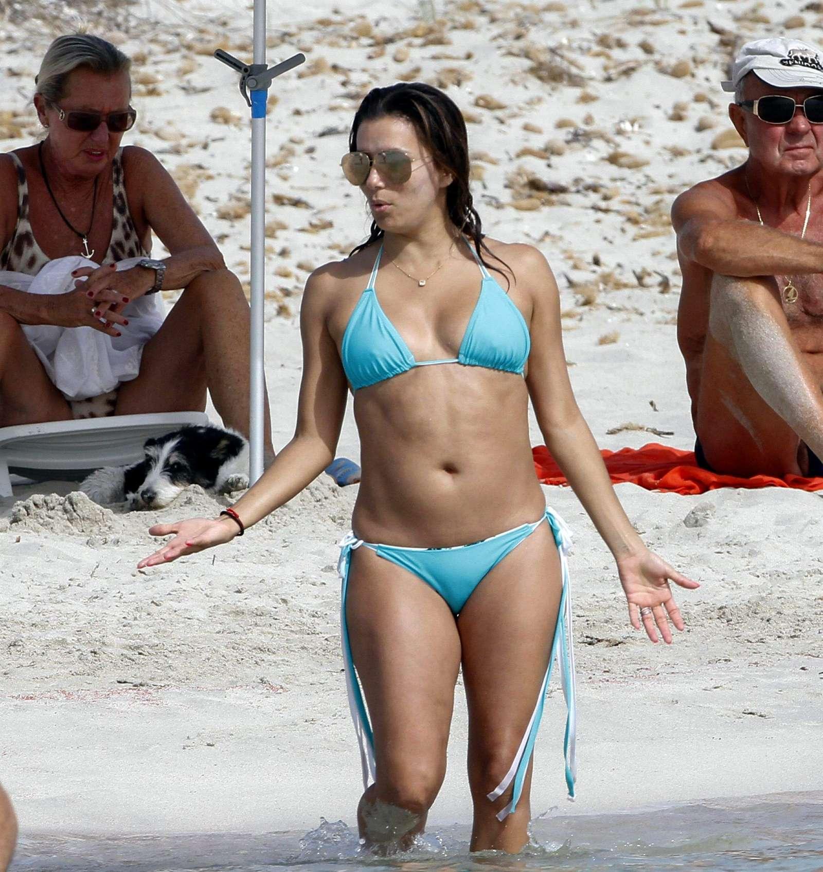 Eva Longoria in Blue Bikini on the beach in Ibiza  GotCeleb