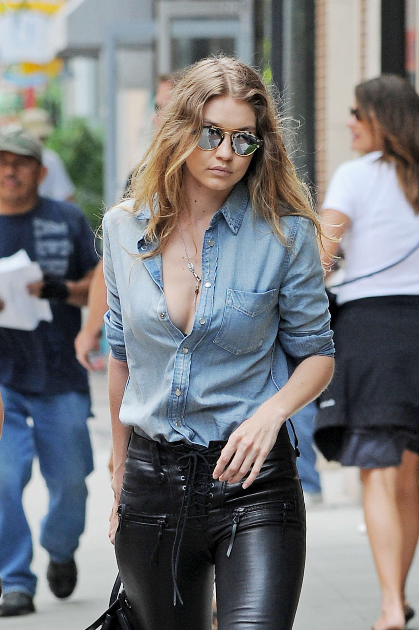 Gigi Hadid in Leather Pants Out in New York  GotCeleb