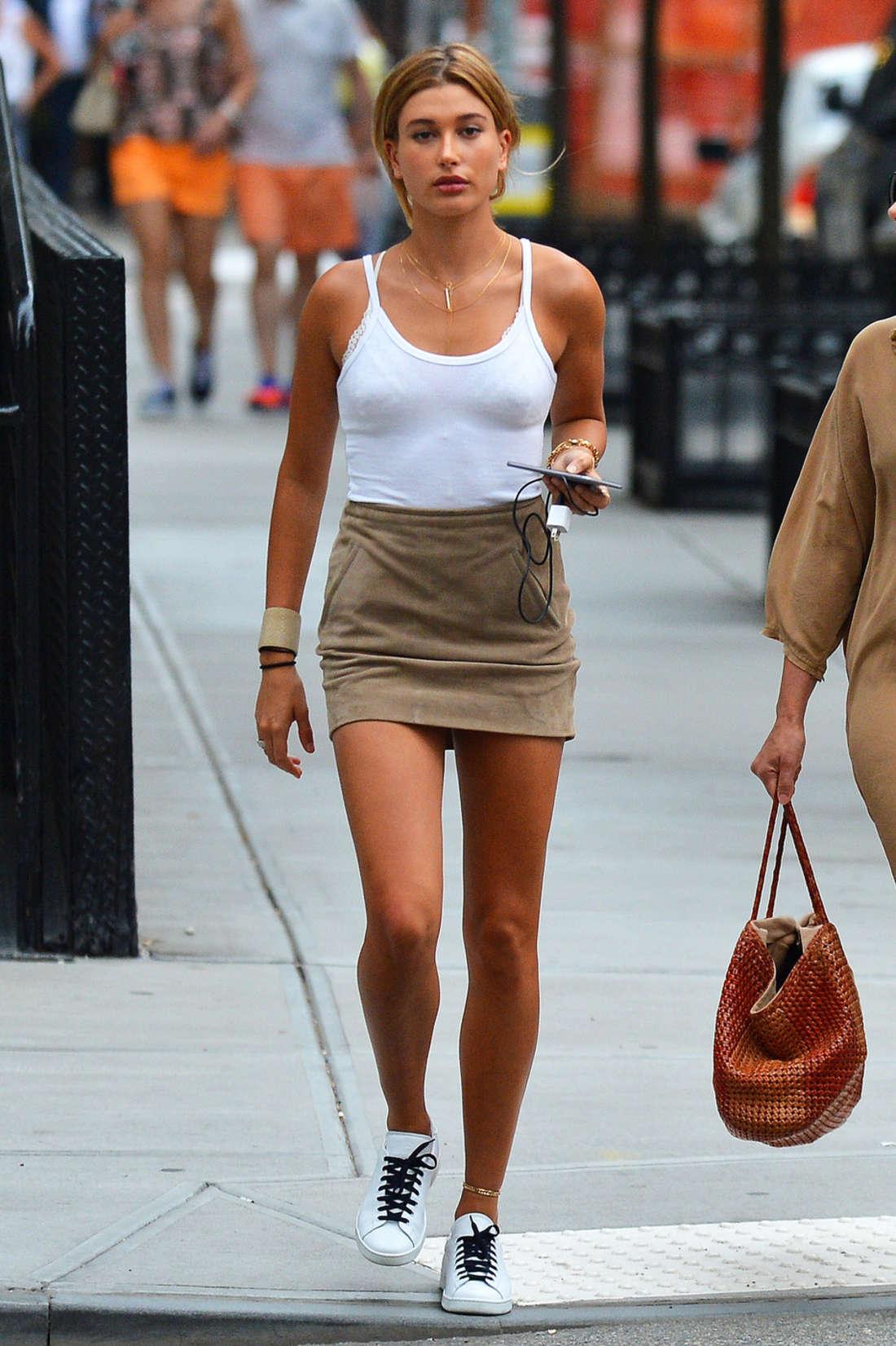Hailey Baldwin in Short Skirt 02  GotCeleb