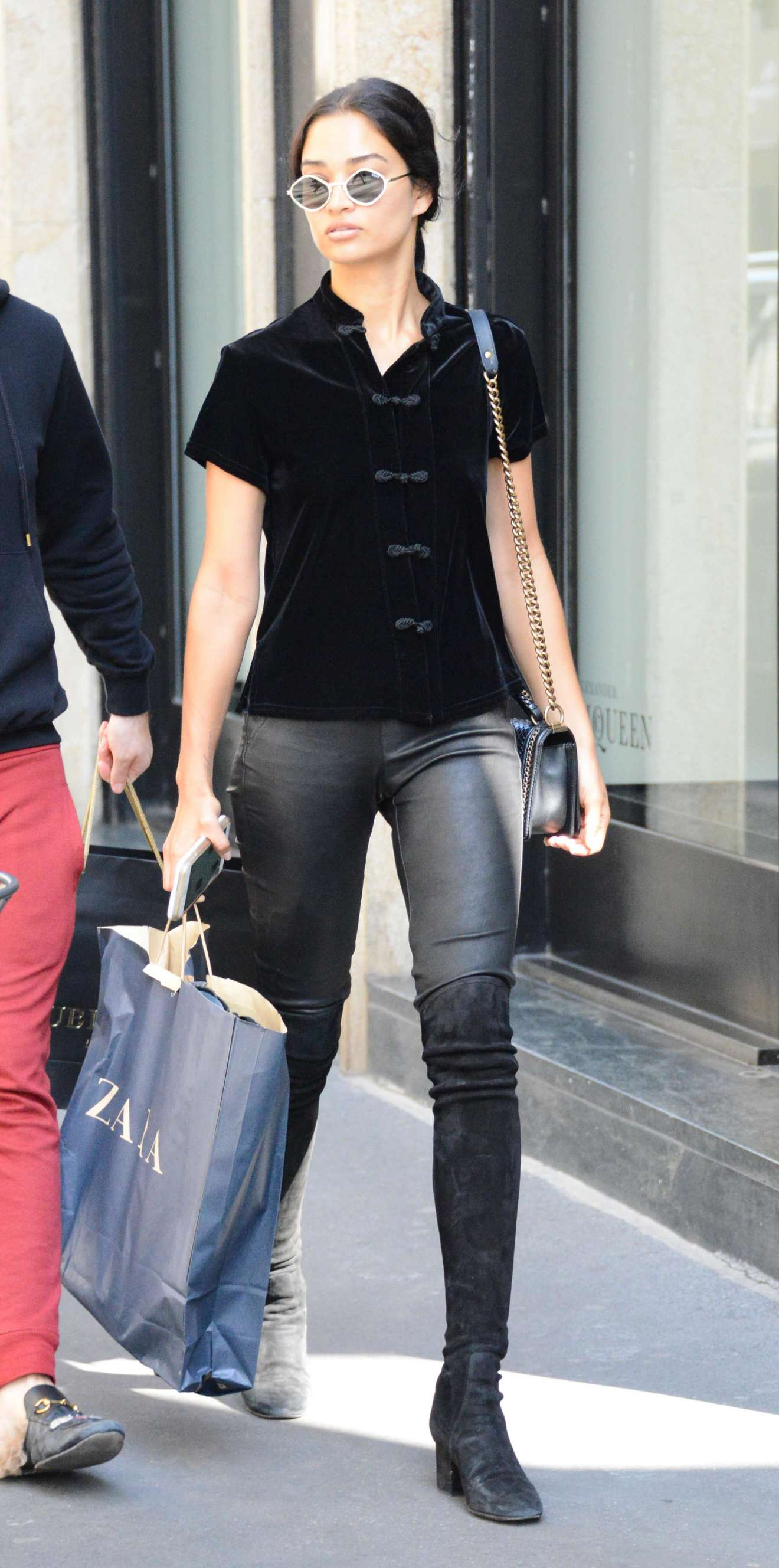 Shanina Shayk  In Leather out shopping in Milan  Italy