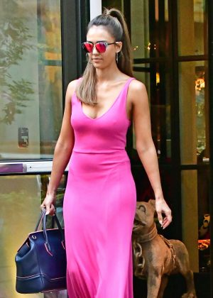 Jessica Alba in Pink Dress out in NYC  GotCeleb