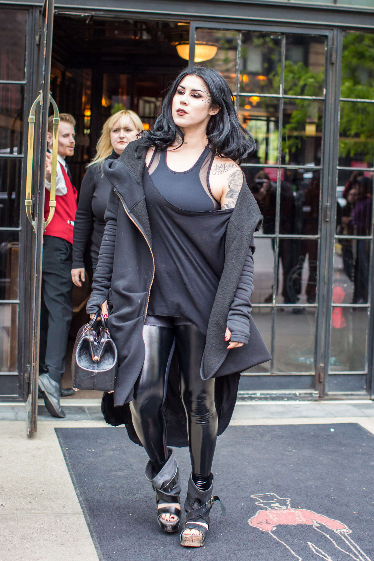 Kat Von D in Leather out in SoHo  GotCeleb