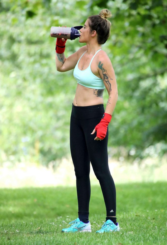 Katie Waissel in Tights and Sports Bra working out -16 ...