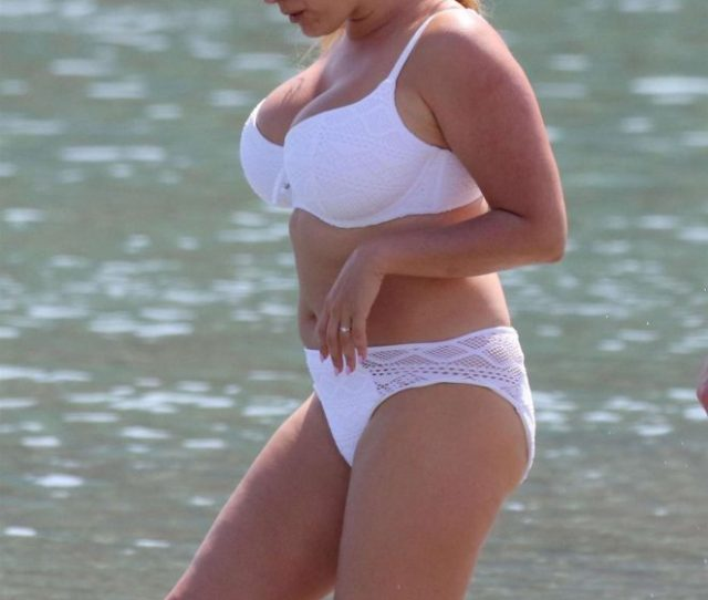 Kelly Brook In White Bikini On The Beach In Mykonos