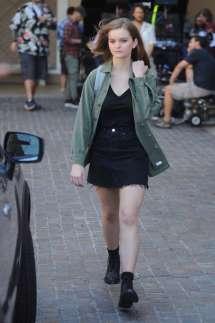 Kerris Dorsey In Black Mini Skirt Filming Beverly Hills