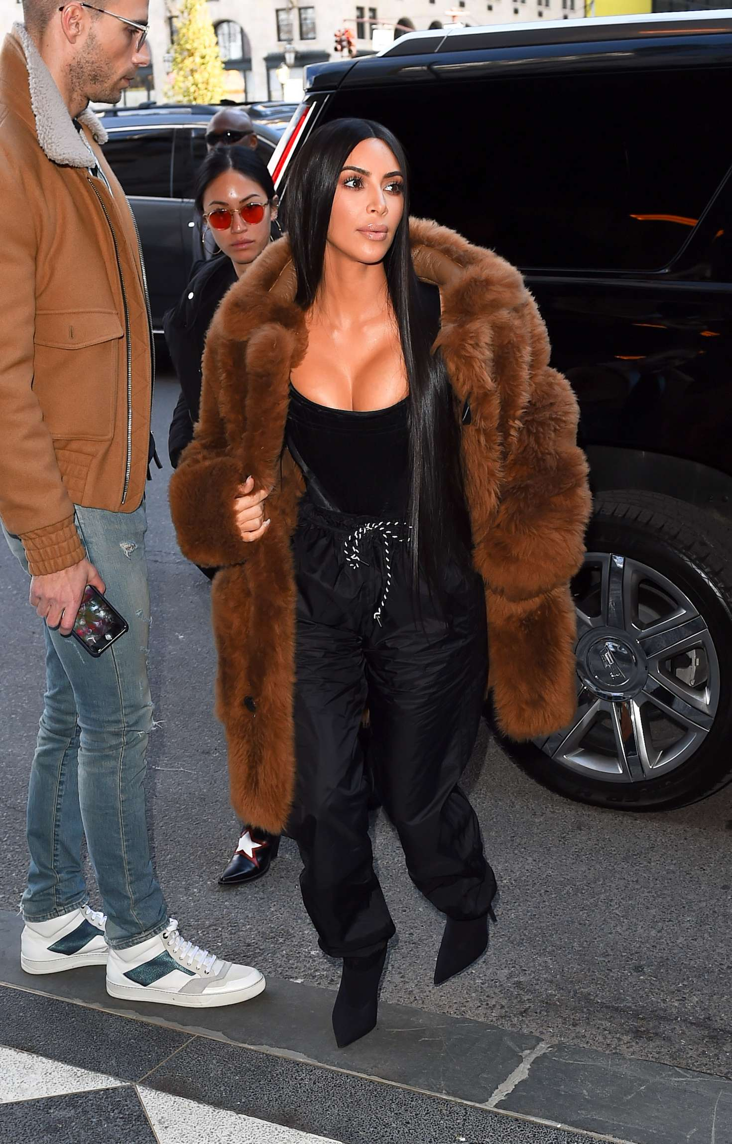 Kim Kardashian in Brown Fur Coat out in New York  GotCeleb