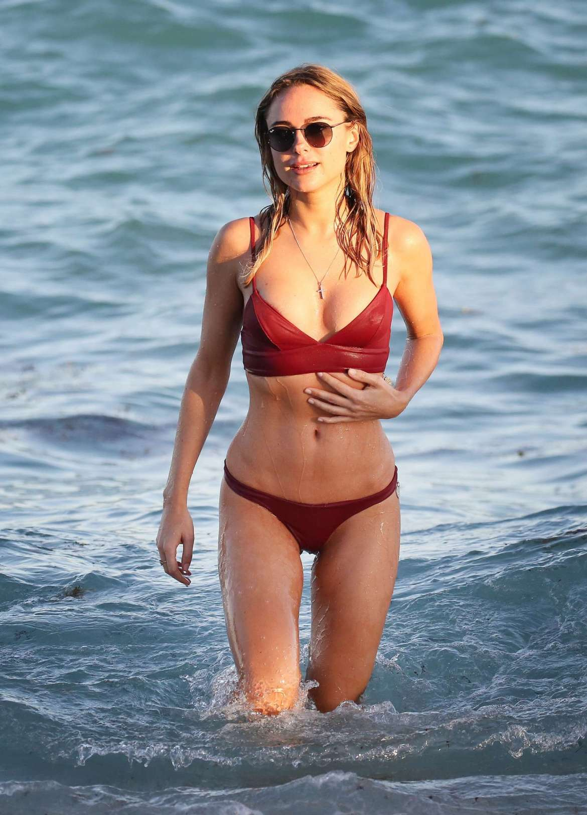Kimberley Garner in Red Bikini on the beach in Miami