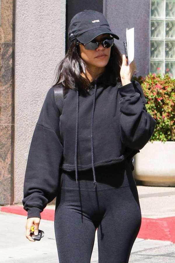 Kourtney Kardashian In Black Outfit - Los Angeles