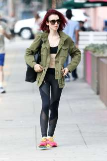 Lily Collins In Tights And Sports Bra -16 Gotceleb