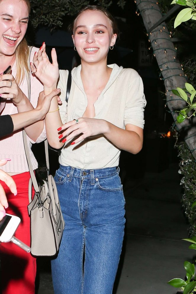 Lily Rose Depp at Ago Restaurant in West Hollywood