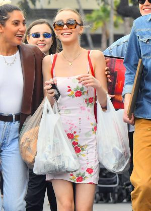 Lily Rose Depp in Floral Mini Dress shopping in Los Angeles