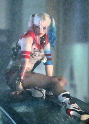 Margot Robbie on the set of Suicide Squad in Toronto  GotCeleb