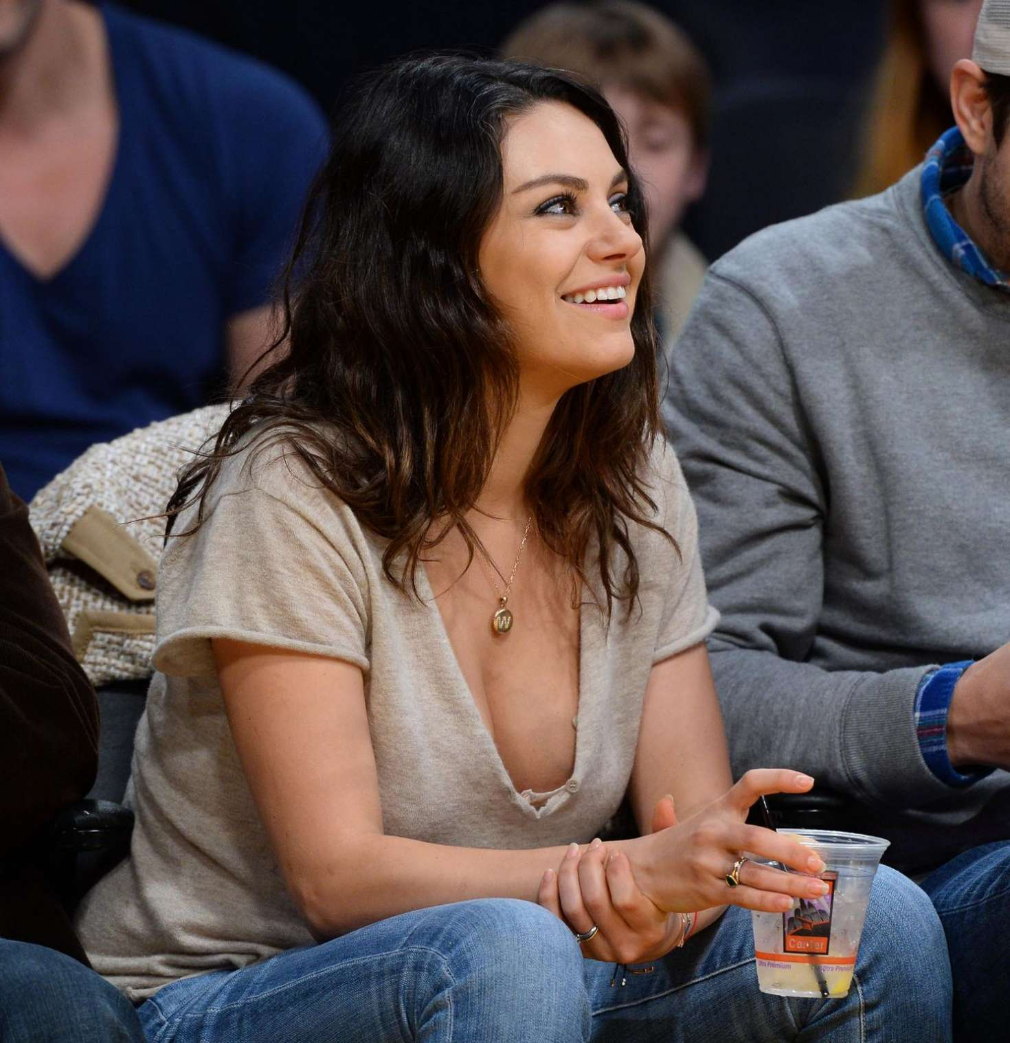 Mila Kunis  Watch Lakers game at Staples Center in LA