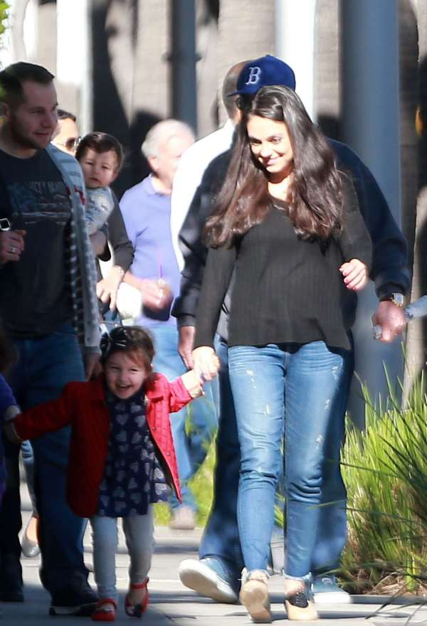 Mila Kunis With Family Arriving Breakfast -10 - Gotceleb