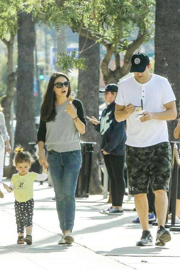 Mila Kunis With Family In Beverly Hills