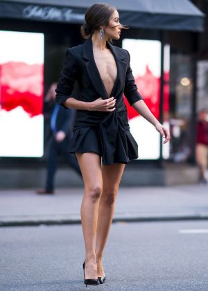 Olivia Culpo In Black Mini Dress Out And About In New York
