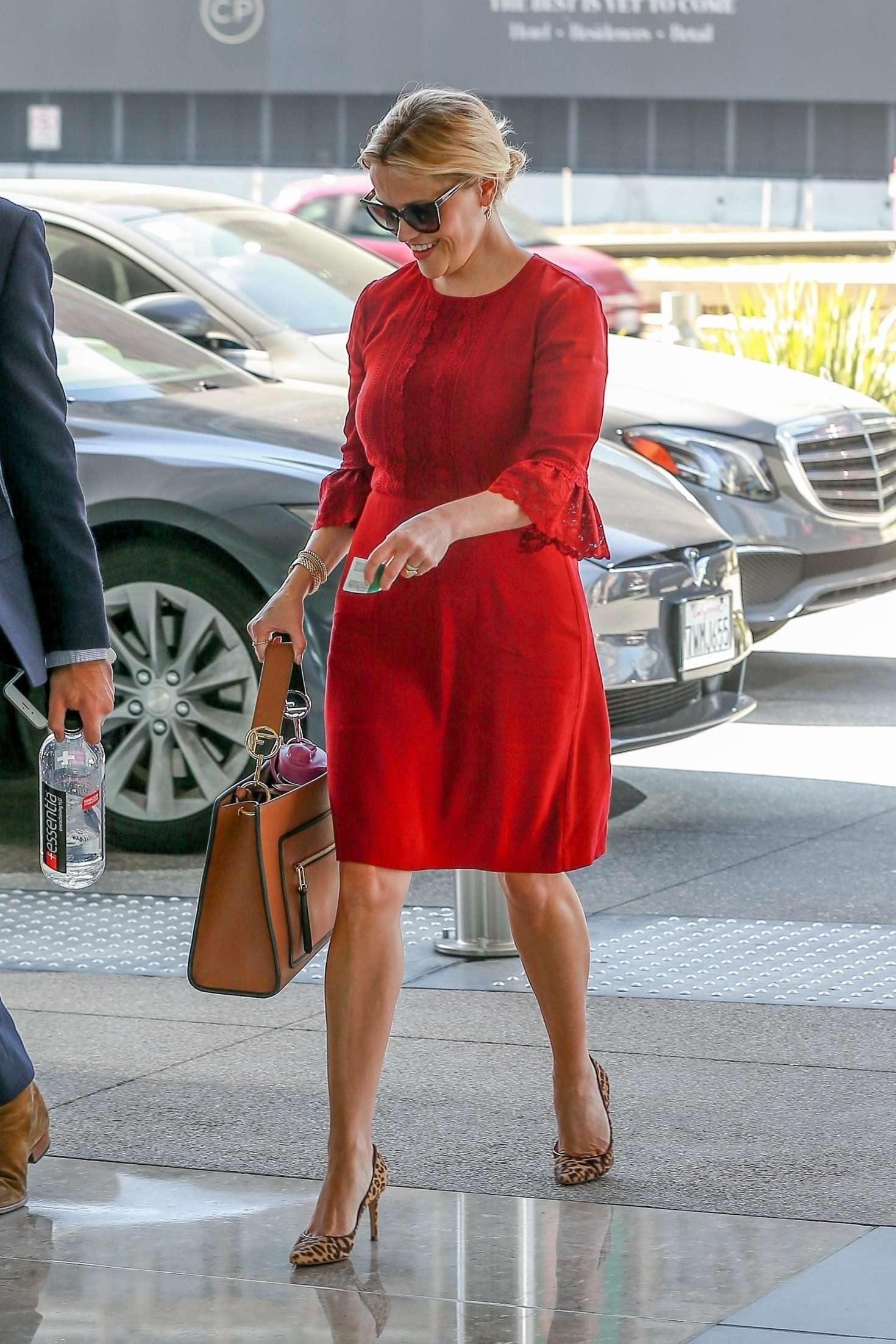 Reese Witherspoon in Red Dress  Out for a Business Meeting in LA