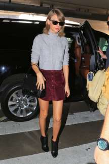 Taylor Swift In Short Red Skirt Lax Airport La