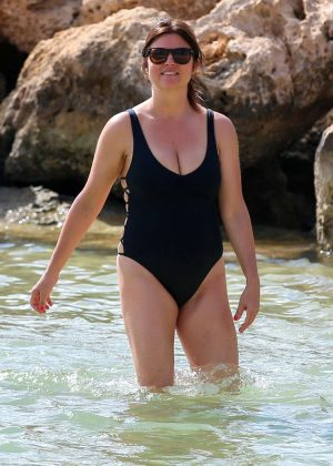 Tiffani Amber Thiessen In Black Swimsuit On The Beach In